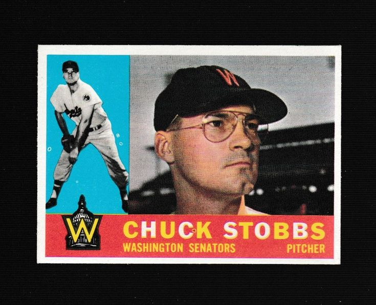 1960 topps baseball card 432 chuck stobbs washington