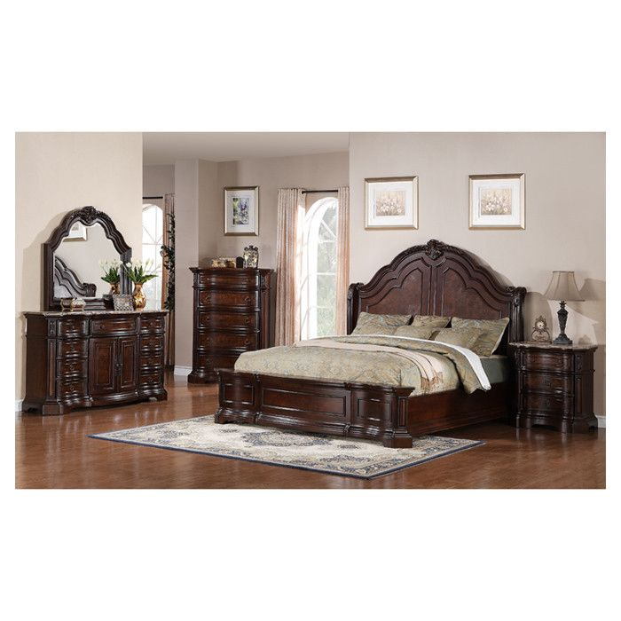 Refresh Your Room With This Samuel Lawrence Edington King Bedroom Set In  European Cherry. The Included Bed, Nightstand, And Dresser With A Mirror W