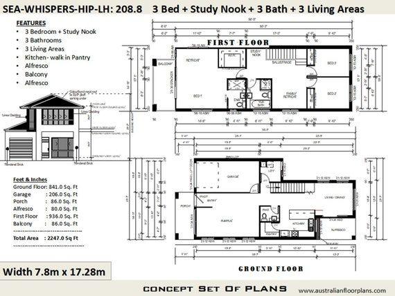 208 M2 2247 Sq Feet 2 Storey House Design Two Storey Etsy 2 Storey House Design Garage House Plans Courtyard House Plans