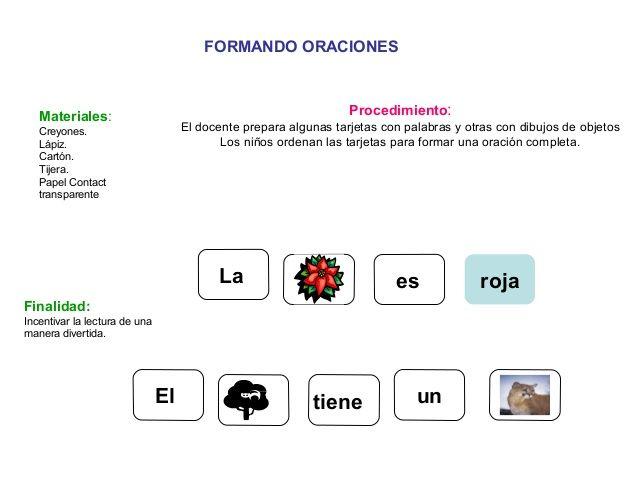 FORMANDO ORACIONES Materiales: Creyones. Lápiz. Cartón. Tijera. Papel Contact transparente Procedimiento: El docente prepa...