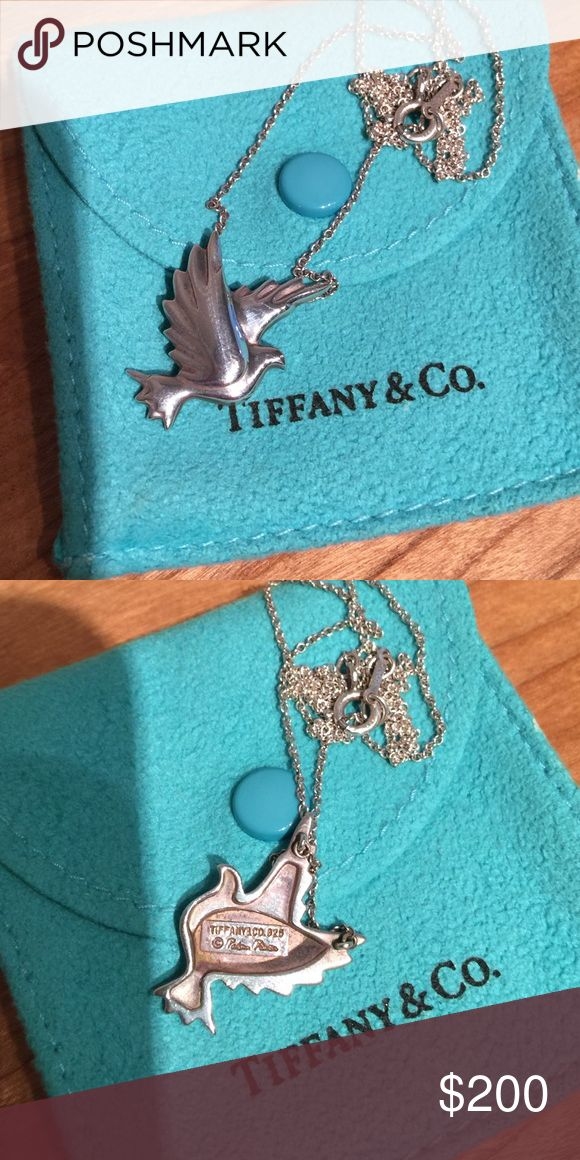 Tiffany & Co Paloma Picasso Dove Necklace Sterling silver dove pendant on sterling silver chain with original pouch. Tiffany & Co. Jewelry Necklaces