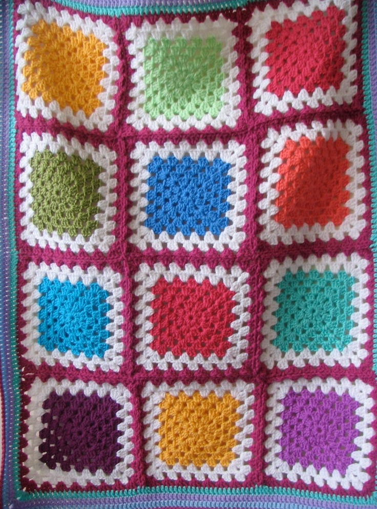 Multicoloured crochet Granny square buggy / pram / stroller / car seat blanket