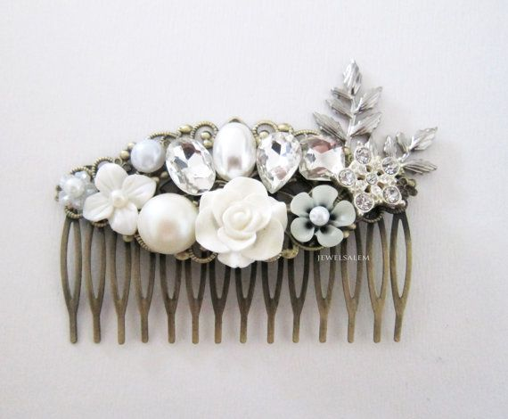 Rhinestone Hair Comb Wedding Headpiece for Bride Romantic Bridal Hair Accessories Silver Leaves White Flowers Gray Pearl Vintage Style JW H1