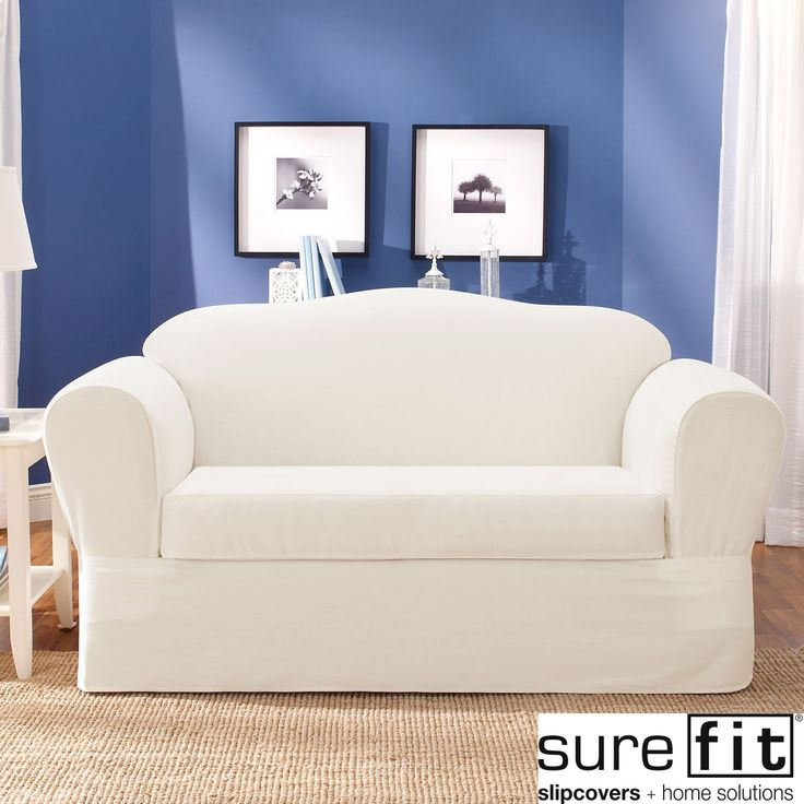 Make an old sofa look like new with this twill sofa slipcover. This cover is made for family homes and is resistant to wrinkles and stains. This is a two-piece set that will fit standard sofa styles. The slipcover is machine washable.
