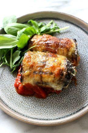Auberginerolletjes met spinazie en mozzarella