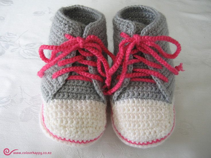 Baby High Tops - light grey with bright pink laces ♥Made by Colour Happy / Adele, based on a pattern by Donna Childs