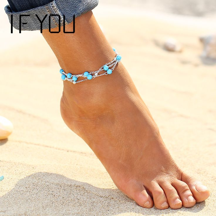 2016 New Foot Jewelry Turquoise Beads Boho Anklets for Women Chaine Beach Vacation Bohemian Barefoot Sandals Enkelbandje