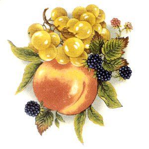 Fruit Rich Colors Peach Grapes Grape Kitchen Decor