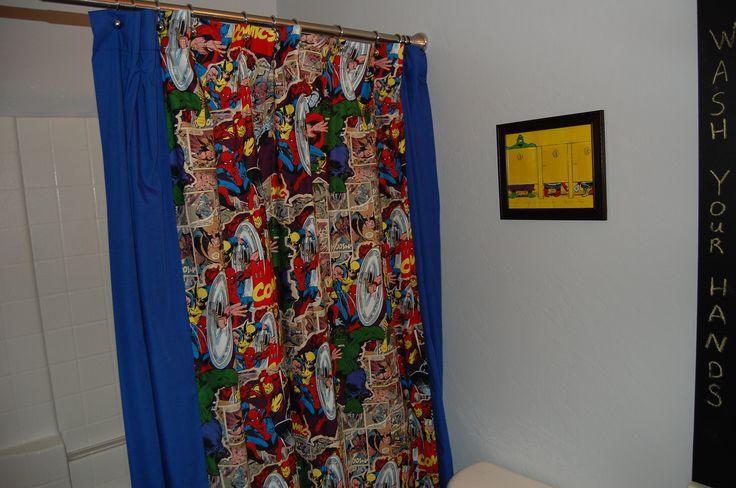 Diy Marvel Comic Fabric Shower Curtain Bathrooms