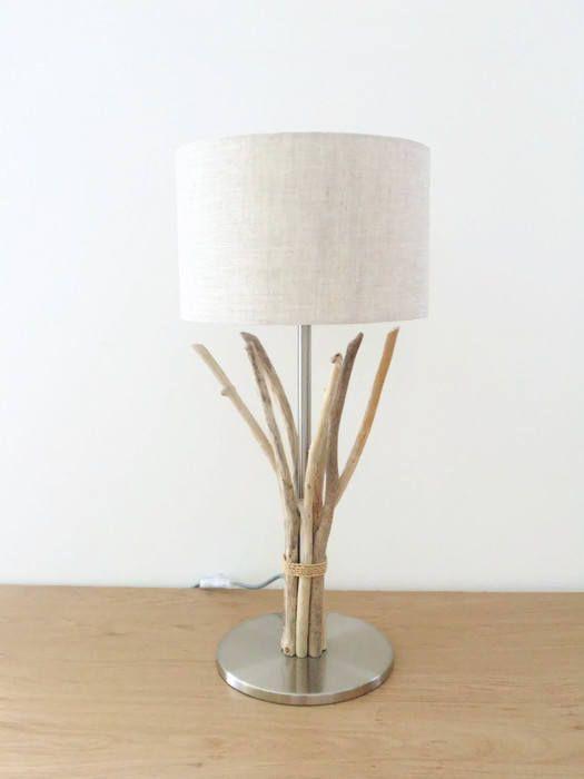 lampe bois flotté abat-jour Lin cylindre 28cm modèle
