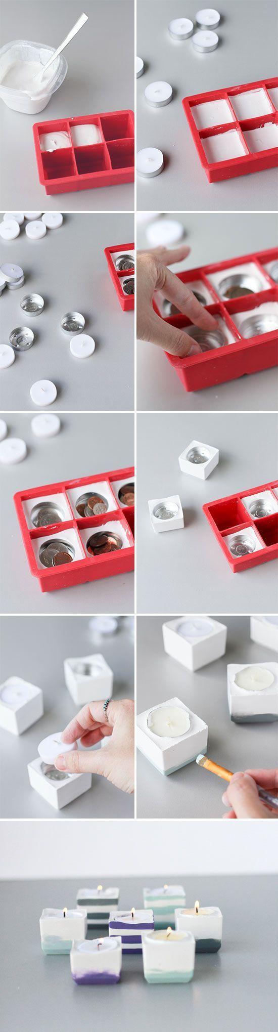 Porta velas hechas de hormigón en una bandeja de cubitos de hielo   -   Crazy cool concrete votives, made with silicone ice cube trays! DIY