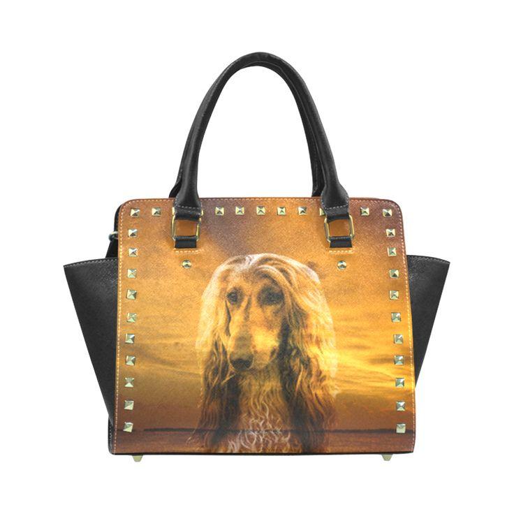 Dog Afghan Hound Rivet Shoulder Handbag (Model 1645)
