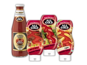 All Gold Tomato Sauce has been South Africa's favourite since 1908. It has a thick, smooth and pourable texture with a distinct tomato flavour. It is a versatile sauce that can be enjoyed with a variety of dishes such as hot dogs, fish and chips, boerewors rolls or any meal you choose.