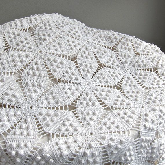 Vintage crocheté couvre-lit - coton blanc literie motif d'étoile au Crochet