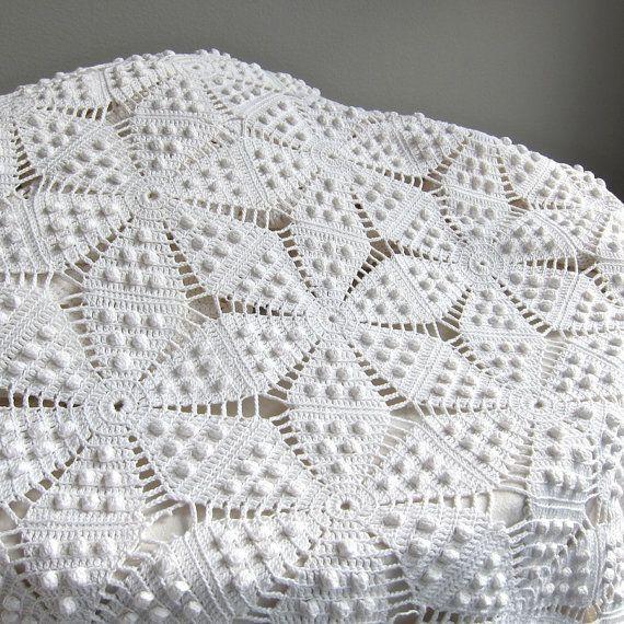 Vintage Crocheted Bedspread - White Cotton Bedding Star Pattern Crochet