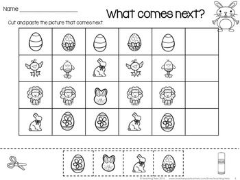 Easter Patterning Easter for Kinder Kids FREEBIE contains a Glue, Write and Draw Easter Sentence, Patterning Activity and 5 fun Easter Word Wall cards.