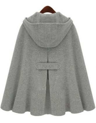 Grey Hoodie Two PU Buckle Woolen Poncho Coat - Sheinside.com