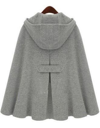 Grey Hoodie Two PU Buckle Woolen Poncho Coat - Sheinside.com