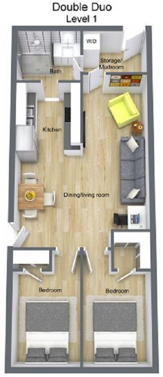 Double Duo | Custom Container Living Except with a kitchen island instead of a wall and no door to the washroom from the kitchen (mini hallway with a door to the mudroom and a door to the bathroom.