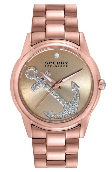 Sperry+'Audrey'+Pavé+Anchor+Bracelet+Watch,+38mm+available+at+#Nordstrom