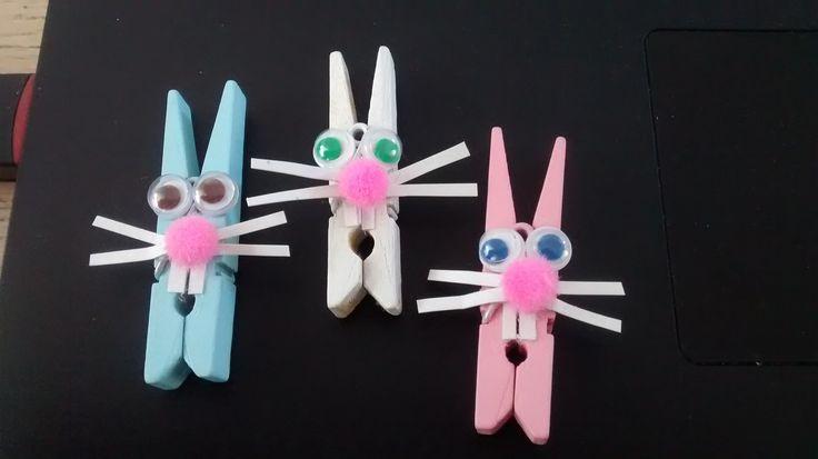 Petits lapins avec minis épingles à linge