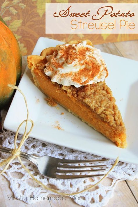 Sweet Potato Streusel Pie - This classic sweet potato pie with a special streusel topping that just makes it irresistible! The perfect pie to celebrate Thanksgiving or Christmas with your family!