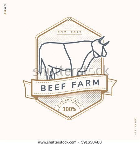 beef farm linear logo, vintage badge