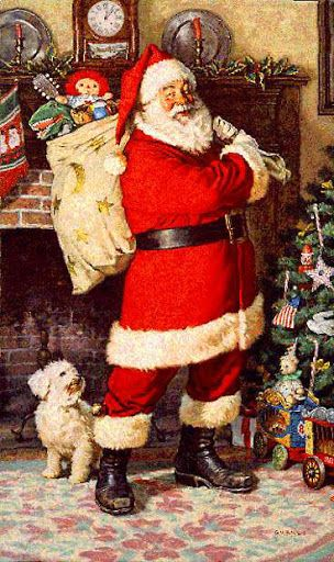 Vintage Santa with Sack on back looking at tree - Little White dog by feet