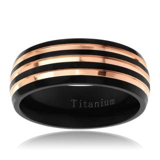Shop for Territory Men's Titanium Rose Goldplated Two-tone 8 mm Two-tone Striped Wedding Band and more for everyday discount prices at Overstock.com - Your Online Jewelry Store!
