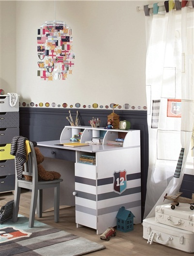 bureau gar on multi rangement british school marron moyen. Black Bedroom Furniture Sets. Home Design Ideas