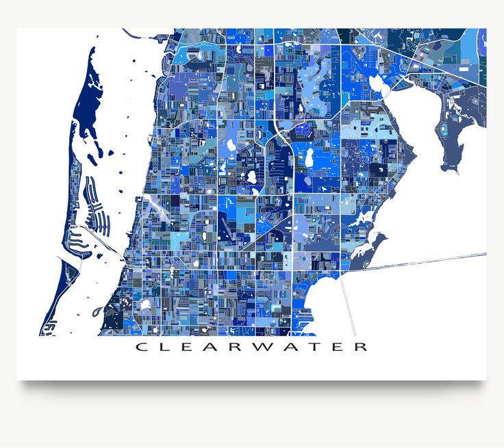 Clearwater Florida city map art print.
