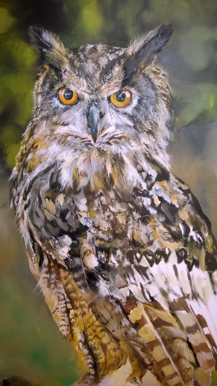 """Rubi"" Uhu,  #uhu #eagleowl #painiting #paint #oil #canvas #1mx70cm #realistic #realisticart #art #kunst #fotografischesmalen #gemälde #malerei by #danaiden"