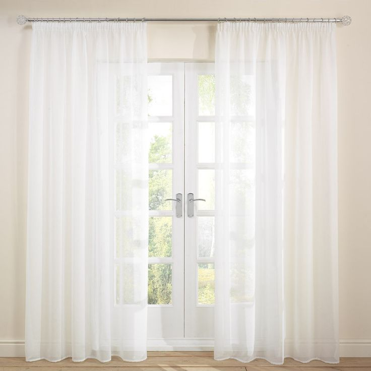 Capri White 2 Quot Pencil Pleat Voile Curtains Single