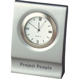 This elegant clock is cast from solid metal and plated in satin chrome.
