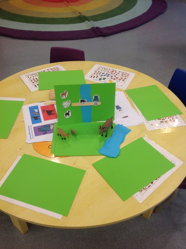 Young Nursery - The children will be encouraged to make pictures of the Three Billy Goat Gruff. Through this activity children should be able to relive the story promoting the use of language. It will also help to develop their fine motor skill through using scissors to cut out the characters.