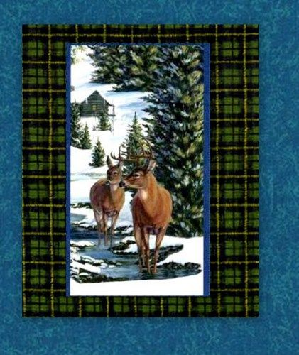 Easy Fabric Panel Quilt Kit Winter Stillness Deer Panel