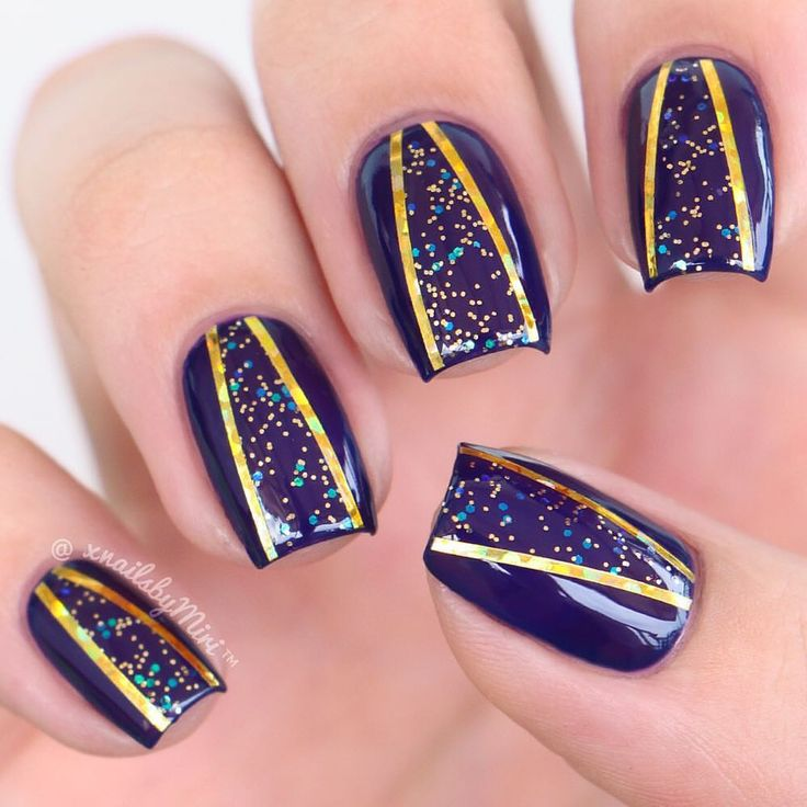 Glitter cut-out ✨ Video on my YouTube channel 'Nails By Miri'  Colors:  Cirque - Velvet Underground (available at @Live.Love.Polish link in bio) ✨ Ciaté - Party Shoes