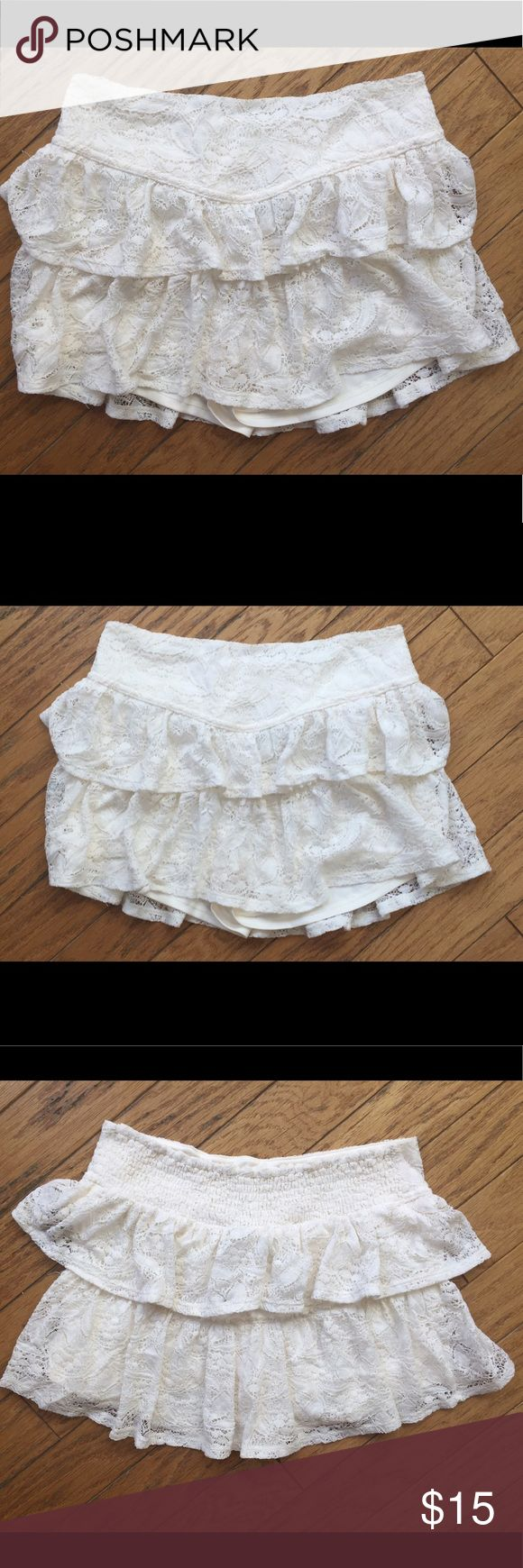 Full Tilt Women's White Crochet Lace Skorts Shorts Full Tilt - Juniors size large. Women's white or cream colored crochet and lace skirted shorts. Lined underneath with a silky pair of shorts attached. Adorable but don't fit me sadly, I ordered them online and only wore them to try them on so they're NWOT. Make me an offer! I discount bundles ✨ Full Tilt Shorts Skorts