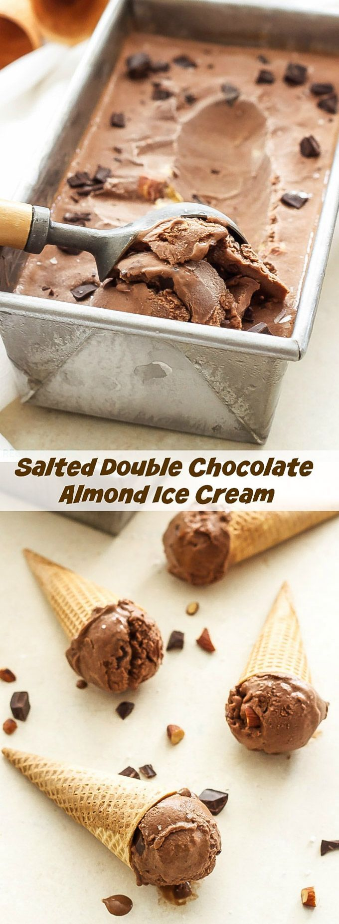 Salted Double Chocolate Almond Ice Cream | Loaded with almonds, chocolate chunks and a touch of sea salt, this dairy-free (vegan optional) ice cream is a salty-sweet chocolate lover's dream come true!