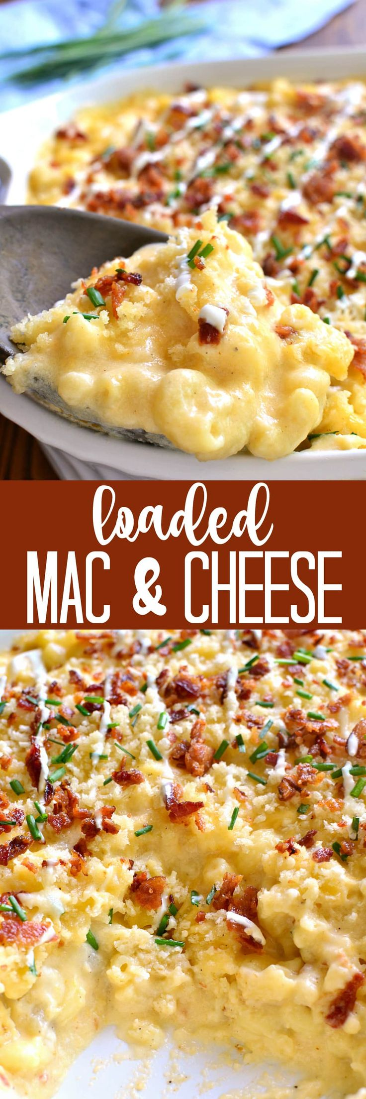 Deliciously creamy Baked Mac & Cheese, loaded with sour cream, bacon, and chives and topped with buttery bread crumbs. The BEST mac & cheese ever....sure to become a family favorite!