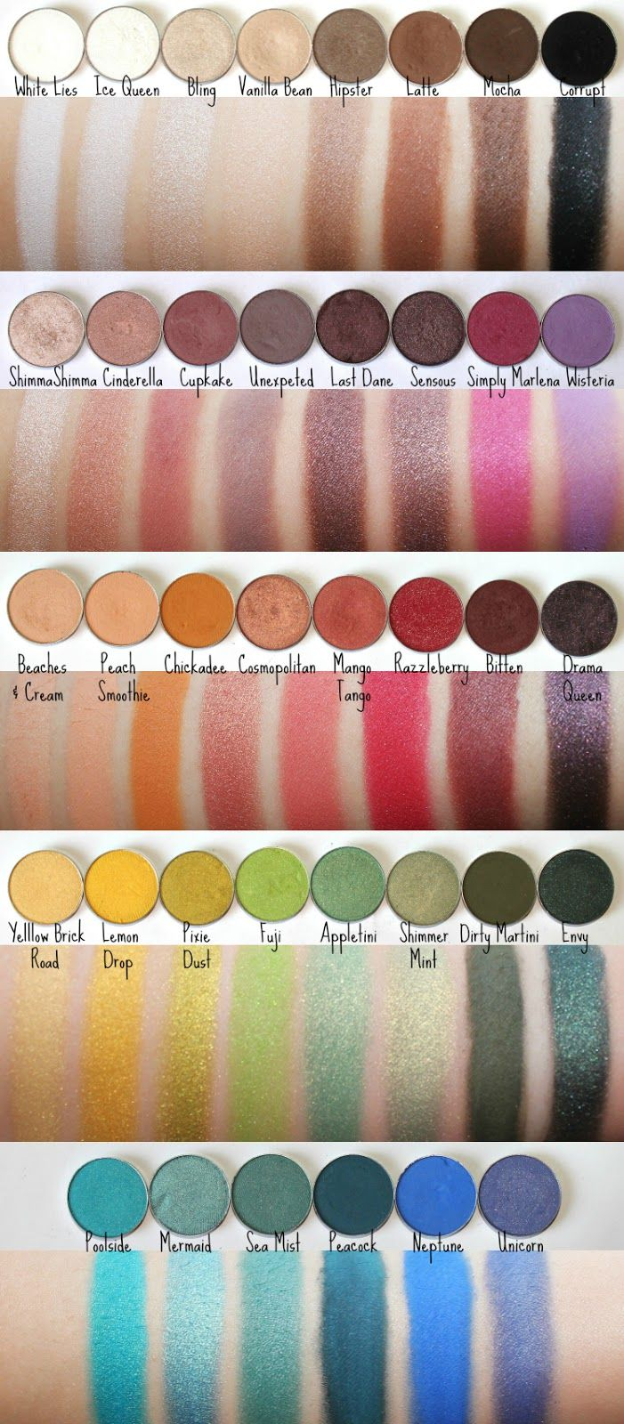 Makeup Geek shadow swatches! Some say that these shadows are better than MAC and for a fraction of of the cost! Love it!