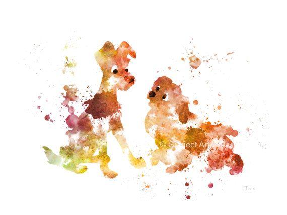La dama y la ilustración de la lámina de vagabundo, Disney, arte de la pared, decoración del hogar, guardería, perro