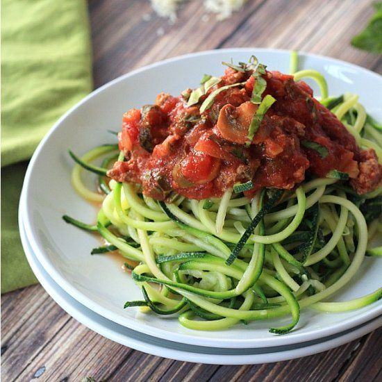 Zucchini Noodles with Meat and Mushroom Tomato Sauce by joyfulhealthyeats #Zucchini_Noodles #Healthy #GF