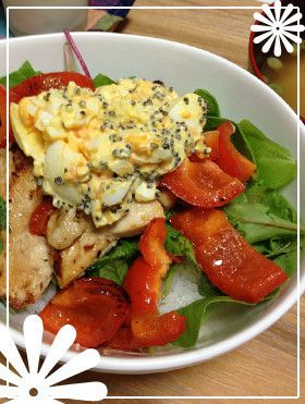 洋風丼+ゆで卵マヨとんぶり合えソース乗せ by めそや [クックパッド ...