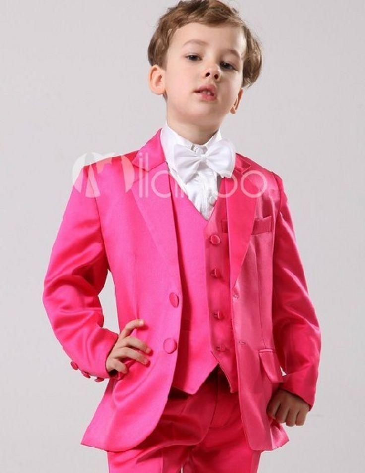 Lo nuevo Boy Esmoquin Muesca Solapa Traje de Los Niños color de Rosa Caliente/Amarillo Chico Trajes de Boda/Baile (Jacket  Vest  pantalones  Tie  Shirt) NH17 | 32727666026_es
