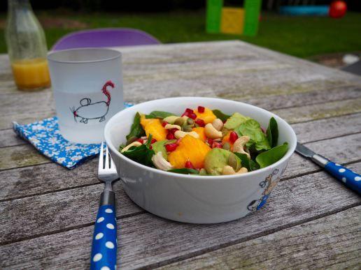 Kindvriendelijke salade met mango, granaatappel, gebraden kip, cashews en avocado.
