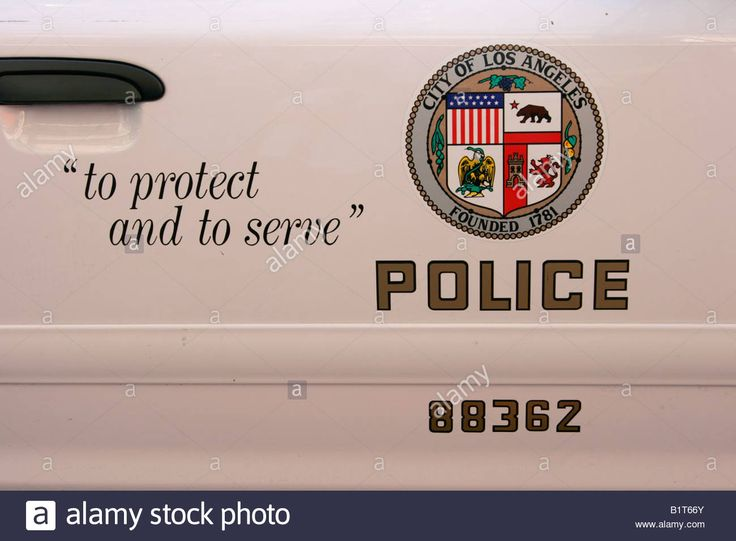 Los Angeles Police Department Seal On A Lapd Cop Car Stock Photo ...