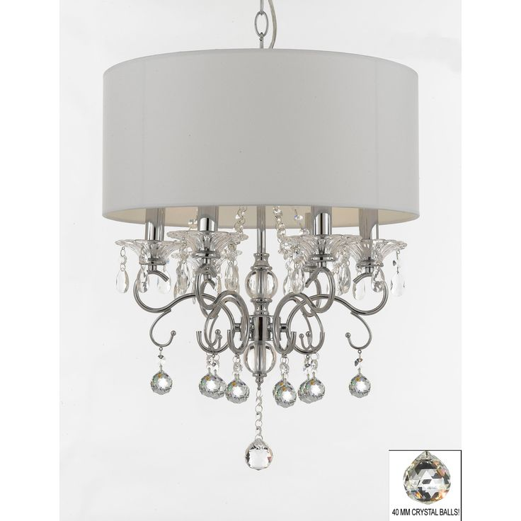 Silver Mist Crystal Drum Shade Chandelier Lighting with Faceted Crystal Balls, Grey Chrome (Wrought Iron)