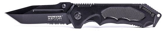 HUMVEE HMV-KTR-04 Recon 4 Folding Knife with Partially Serrated Stainless Steel Blade and Metal Pocket Clip, Black *** Be sure to check out this awesome product.