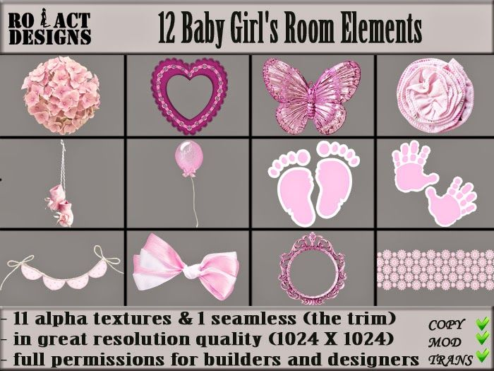 Ro!Act Designs 12 Baby Girl's Room Elements